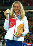 Bronze medalist Petra Kvitova of Czech Republic during medal ceremony after tennis women's singles final of the Rio 2016 Royalty Free Stock Photos