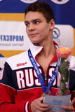 Bronze medalist of Salnikov Cup Evgeny Rylov. St. Petersburg, Russia - December 17, 2016: Bronze medalist in 50 m freestyle swimming Evgeny Rylov in medal Stock Photos