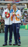 Bronze medalists Radek Stepanek (L) and Lucie Hradecka of Czech Republic during medal ceremony after tennis mixed doubles final Royalty Free Stock Photography