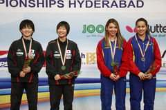 The bronze medalists of the women double Stock Photography