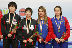 The bronze medalists of the women double Royalty Free Stock Photos