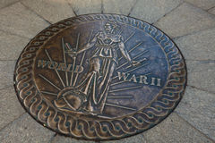 Bronze Medallion Inlaid under Pacific entrance to WWII National Memorial Stock Photo