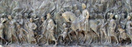 Bronze memorial panel at the Victoria Memorial building in Kolkata Royalty Free Stock Images