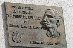 Bronze memorial tablet at catagena,Spain royalty free stock photo