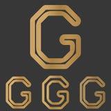 Bronze line letter g logo design set. Bronze metal line letter g logo design set Royalty Free Stock Photos