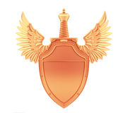 Bronze metal shield with wings and sword Royalty Free Stock Images