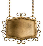 Bronze metal signboard hanging on chains isolated Stock Image