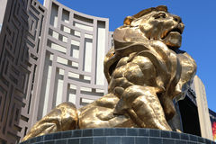 Bronze MGM lion. Bronze lion outside the MGM stock image