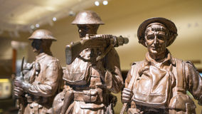 Bronze military statues. A close up view of bronze statues of 3 military men during the early world war Stock Photography