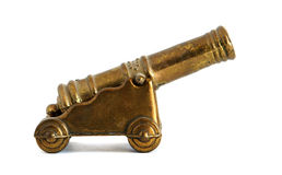 Bronze miniature of Old cannon Stock Images