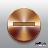 Bronze minus button. Round minus button with brushed bronze texture isolated on gray background Stock Images