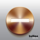Bronze minus button with white symbol Stock Photography