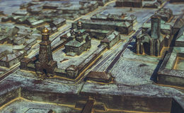 Bronze Model of Alba Carolina Citadel Stock Images