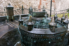 Bronze model of the Barbican outside the Stare Miasto in Krakow. A bronze model of the Barbican entrance fortification outside the Stare Miasto or Old Town in stock photos