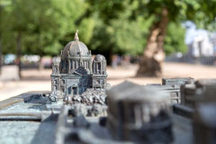 Bronze model of Berlin Cathedral. Focus on Chatedral Royalty Free Stock Photos
