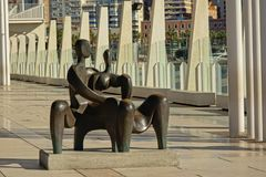 Modern art statue in the paseo del muelle uno promenade in MAlaga Stock Photo