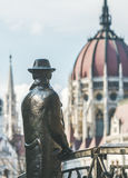 Bronze monument of Hungarian national hero Imre Nagy, Budapest, Hungary Stock Photo
