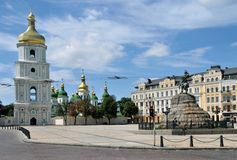 Bronze monument on Kiev square Royalty Free Stock Photography