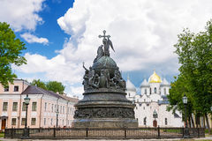 Bronze monument for Millennium of Russia in the Novgorod Kremlin Stock Image