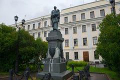 Bronze monument to the Arctic Explorer Peter Pakhtusov in Kronstadt. RUSSIA, SAINT PETERSBURG - AUGUST 18, 2017: Bronze monument to the Arctic Explorer Peter Stock Photo