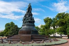 A bronze monument to Catherine the Great on Ostrovsky Square in Catherine Square. RUSSIA, SAINT PETERSBURG - AUGUST 18, 2017: A bronze monument to Catherine the Royalty Free Stock Photos