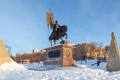 Bronze monument to the founder of Samara Prince Grigory Zasekin. SAMARA, RUSSIA - JANUARY 17, 2015: Bronze monument to the founder of Samara Prince Grigory Royalty Free Stock Photos