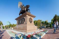 Bronze monument to the founder of Samara Prince Grigory Zasekin. SAMARA, RUSSIA - SEPTEMBER 13, 2014: Bronze monument to the founder of Samara Prince Grigory Royalty Free Stock Images