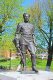Bronze monument to the Hero of the Soviet Union captain Gusev Sergey Ivanovich Stock Image