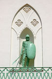Bronze monument to the soldier in armor with a spear and a shiel Royalty Free Stock Photos