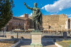 Bronze monumental statue of the Caesar Augustus, Rome, Italy. Caesar Augustus was one of ancient Rome's most successful leaders who led the transformation stock images