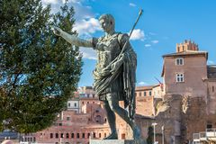 Bronze monumental statue of the first emperor Caesar Augustus in the center of Rome, Italy stock photos