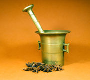 Bronze mortar Royalty Free Stock Images