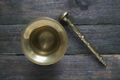 Bronze mortar and pestle Royalty Free Stock Images