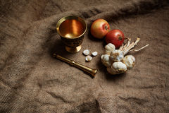 Bronze morter and group of garlics and onions Royalty Free Stock Image