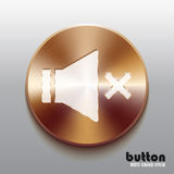 Bronze mute sound speaker button with white symbol. Round bronze record button with white symbol and brushed texture isolated on gray background Royalty Free Stock Photo