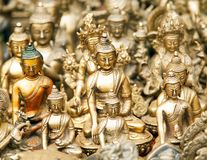 Bronze nepalese souvenirs which are selling in kathmandu Stock Image