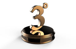 Bronze number 3 on podium Royalty Free Stock Photography