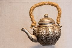 Bronze old chinese traditional teapot Royalty Free Stock Photos