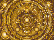 Bronze ornament Maya. Vector golden circle frame Maya Royalty Free Illustration