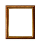 Bronze ornate and golden picture or photo frame. Vintage old wooden classic bronze and golden painted vertical rectangular frame for picture or photo, isolated royalty free stock photography