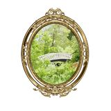 Bronze oval frame with the image of the bridge in the wood Royalty Free Stock Images