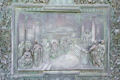 Bronze panel detail of the entrance door of Pisa Cathedral Royalty Free Stock Photos