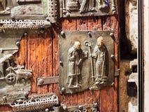 Bronze panel on door in Basilica di San Zeno Stock Photo