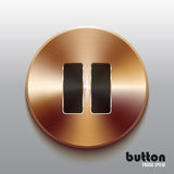 Bronze pause button with black symbol. Round pause button with black symbol and brushed bronze texture isolated on gray background Royalty Free Stock Photography