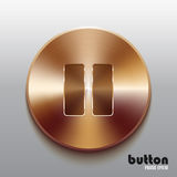 Bronze pause button. Round stop button with brushed bronze texture isolated on gray background Stock Images