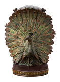 Bronze Peacock Bookend Isolated Royalty Free Stock Photography