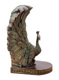 Bronze Peacock Bookend Isolated Stock Photography
