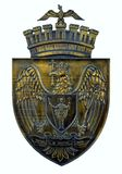 Bronze plaque of coat of arms of City of Bucharest, Romania. A bronze plaque of the coat of arms of Bucharest (part of a memorial in Piata Francofoniei). The royalty free stock photos