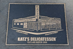 Bronze plaque in front of the historical Katz`s Delicatessen Royalty Free Stock Images