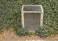 Bronze plaque by the Memorial to the Victims of Communism, Prague, Czech Republic. Pictured is a bronze plaque nearby the Memorial to the Victims of Communism stock image